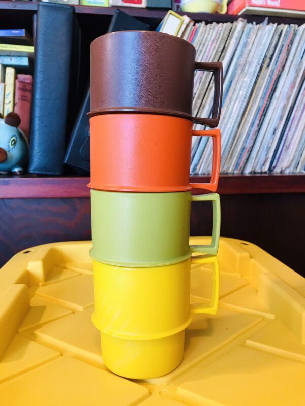 Vintage TUPPERWARE 1312 Stackable Coffee Mugs Cups Set Of 4 Harvest Colors~EC