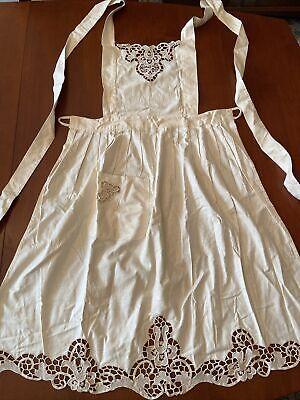 Vintage Aprons, Retro Aprons, Old Fashioned Aprons & Patterns Vintage Hostess Full Apron Cream Cotton With Crochet Lace Trim $19.50 AT vintagedancer.com