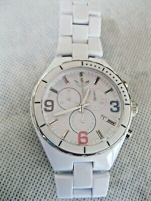 Adidas White Plastic Analog Quartz Chronograph Watch Hours~Date~New Battery