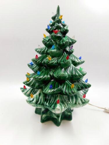 "Vintage Green 15 1/2"" Ceramic Lighted Christmas Tree  ~ NICE!!"