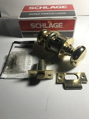 New Schlage Passage Latch Set A10s Ply605 1 38-2 78 Dr. Complete Knob Set