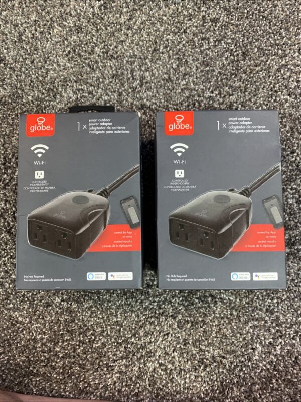 New Lot of 2 Globe Wi-Fi Smart 2-Outlet Outdoor Plug No Hub Required Black NIP