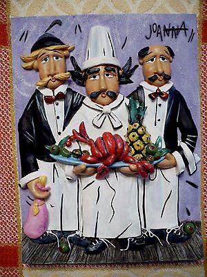Artist JOANNA wall plaque of CHEF and WAITERS w/tray of FRUITS. Vivid colors Exc