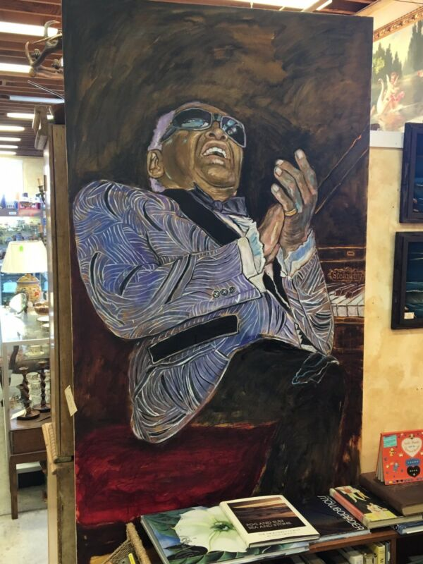 Mid Century/Vintage Large Ray Charles Oil Painting