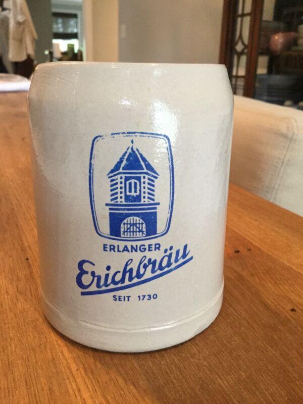Erlanger Erichbrau German Mug Stein Gray Stoneware Vintage 0.5 liter