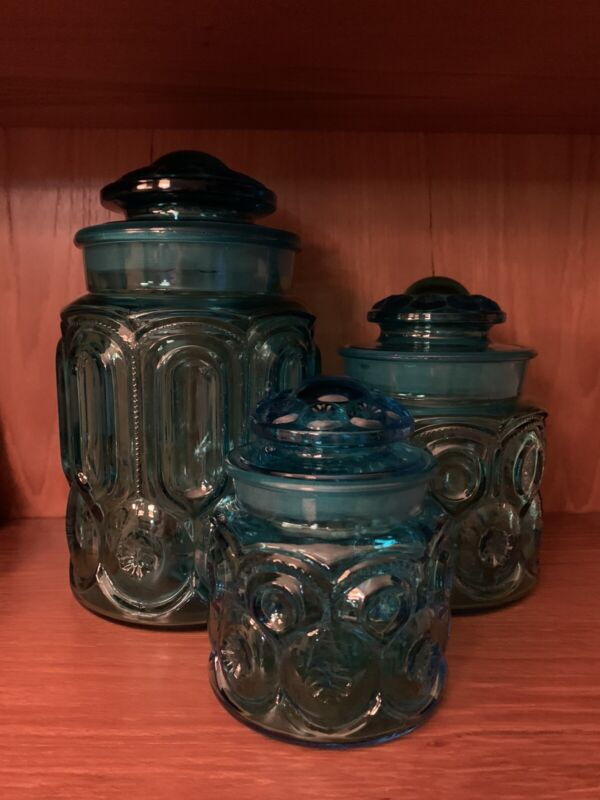 Vintage L E Smith Moon and Stars Blue Canisters Apothocary Jars