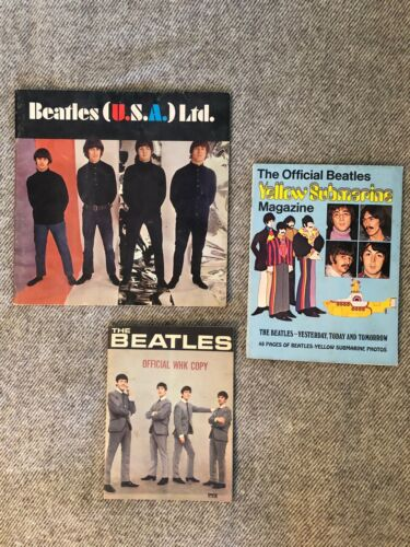 BEATLES LOT🔥 U.S.A. Ltd. Program/ Yellow Submarine Magazine/ 1964 PYX Fan Book
