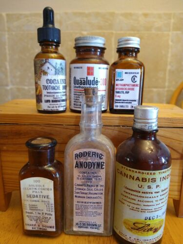6Old Medicine Bottle Hand Crafted,Cannabis,Cocaine,Lude,Meth,Sed,Anod,(SAVE$30)