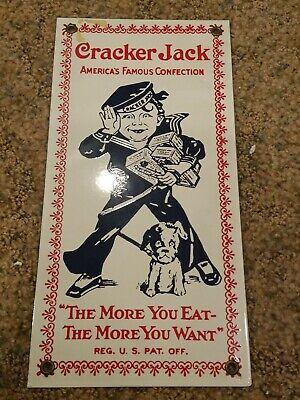 Vintage Porcelain Enamel Metal Cracker Jack Advertising Sign