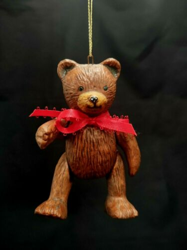 VINTAGE CERAMIC TEDDY BEAR CHRISTMAS TREE ORNAMENT ARTICULATED MOVABLE JOINTS