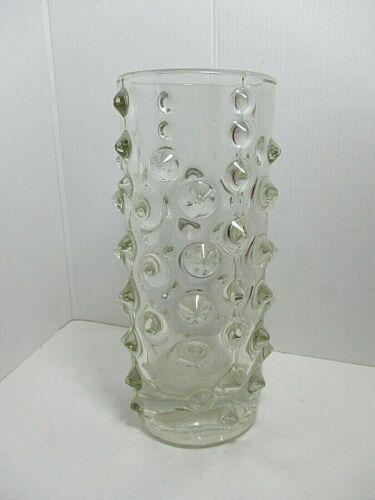 RETRO SKLO UNION - NIPPLED CLEAR GLASS VASE - PAVEL PANEK 1970
