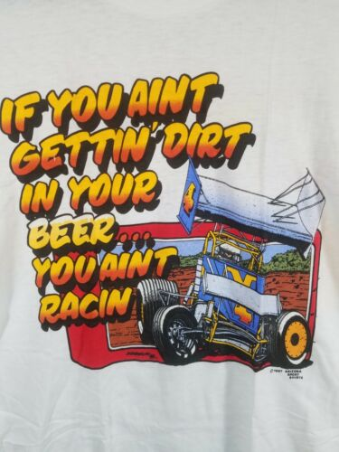 Vintage 80s Deadstock Car Drift Racing Men T Shirt Large Single Stitch BEER