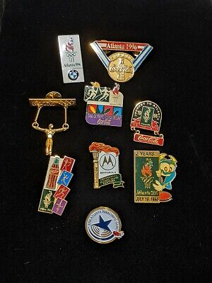 Lot Of 9 USA Olympic Pins Coca Cola Motorola Atlanta