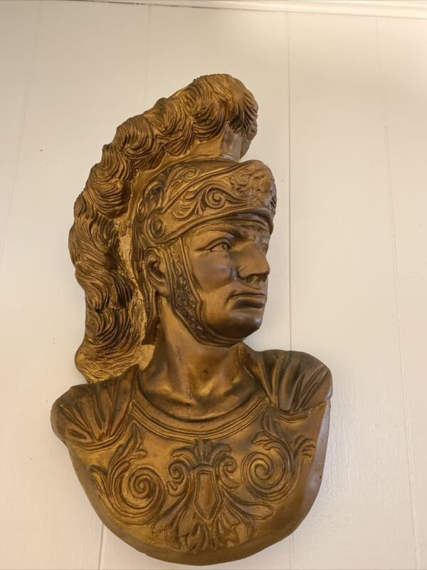 "Carved Roman figural Centurion/gladiator Large  head Wall Art 12""X 14"""