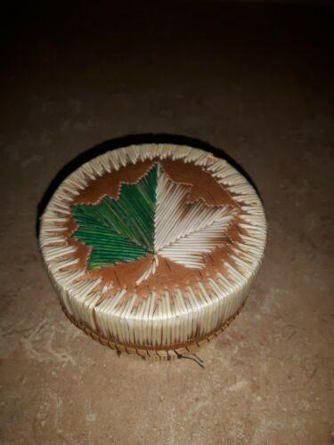 Vtg Ojibway Canadian Indian Porcupine Quill Round Box Basket Maple Leaf Handmade