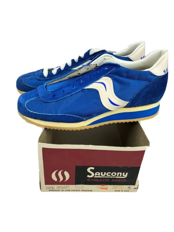 Vintage Saucony Hornet Running Shoes NOS Size 5 Blue/White Made in USA