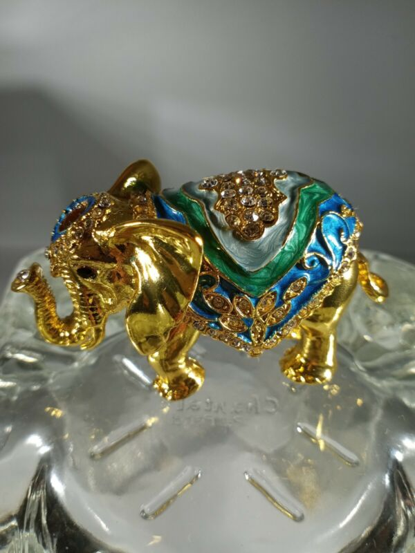 Standing Elephant Hand Painted Enamel With Crystals STAL
