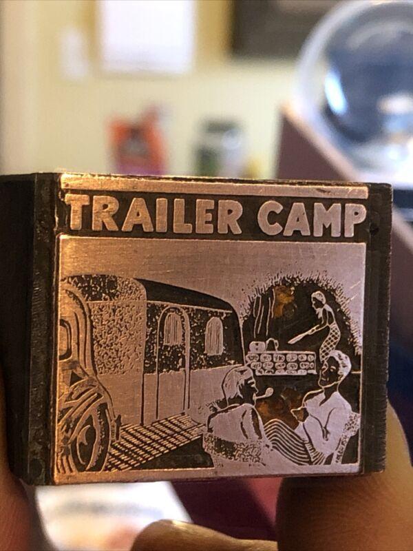 """Vintage Wood & Metal Metal Printing Print Block Stamps, Trailer Camp """""""