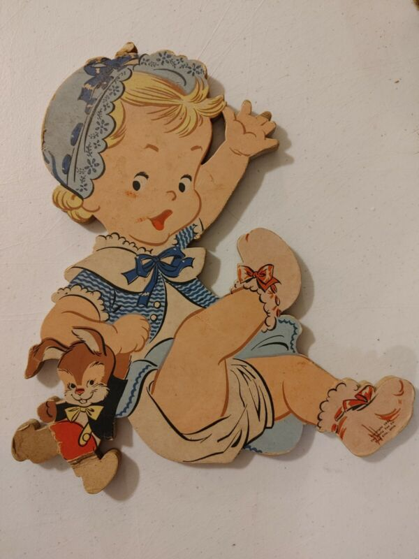 VINTAGE NURSERY WALL ART ROCK A BYE BABY ©  1952 The Dolly Toy CO Cute OLD TOYS