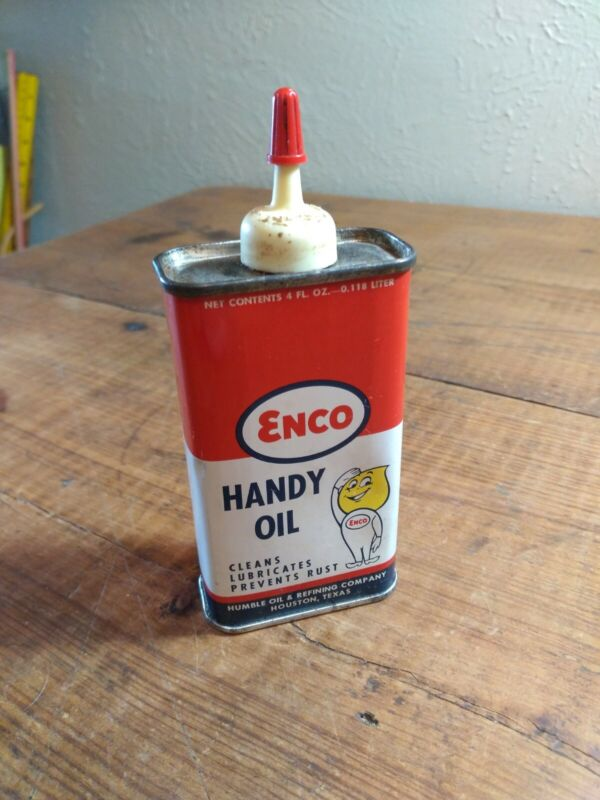 VINTAGE ENCO HANDY OIL TIN HUMBLE CO. GOOD USED CONDITION HAS SOME OIL NICE
