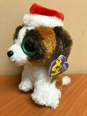 TY Beanie Boos - PRESENTS the Dog with Santa Hat (Solid Eye Color) (6 inch) MINT