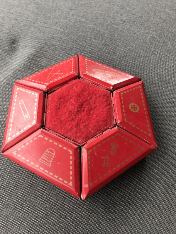 Vintage  Red Metal Octagon Sewing Box 6 Different Small Compartments That Open.
