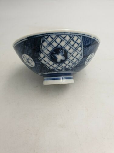 JAPANESE FINE PORCELAIN FOOTED RICE SOUP BOWL BLUE WHITE BUTTERFLIES GEOMETRIC