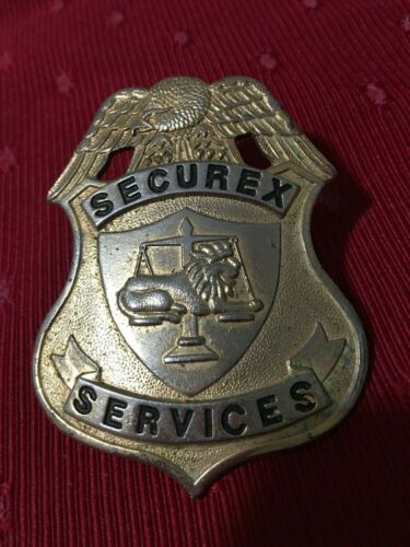 SECUREX SERVICES Brass Look? Badge with Lion on Scale and Eagle on Top