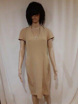 Ports 1961 Women's Cotton Blend Beige Short Sleeve Knee Length Dress Size 8