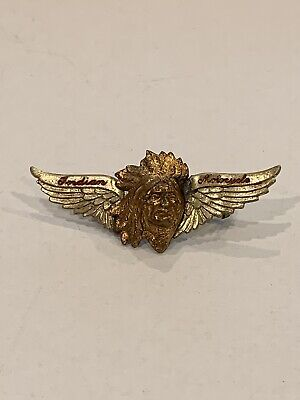 VINTAGE 1920's ANTIQUE INDIAN MOTORCYCLE WINGS PIN- ORIGINAL & RARE