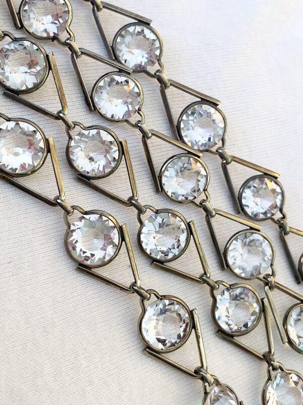 Vintage Antique Art Deco Germany Crystal Paste Bezel Set Open Back Necklace