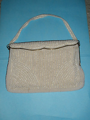 1950s Handbags, Purses, and Evening Bag Styles Vintage Charbet White Beaded Handbag Evening Bag Made in Belgium 1950s $95.00 AT vintagedancer.com