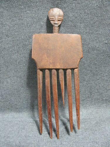 Old African Ashanti Ghana Carved Wood Comb      #53
