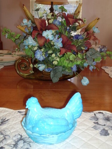 Blue Milk Glass  Hen on Nest