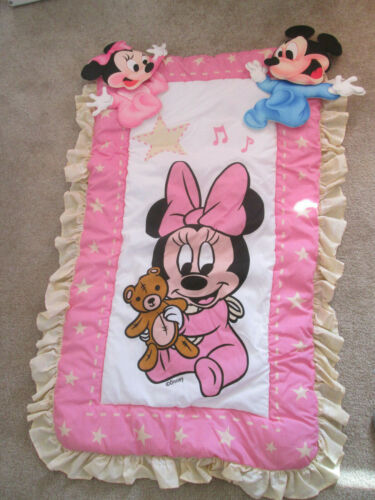 Vintage Disney Babies Crib Bedding Nursery Decor Comforter Wall Hangings Minnie