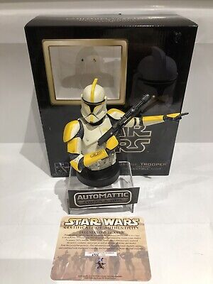 star wars GENTLE GIANT MINI BUST YELLOW CLONE TROOPER COMMANDER DELUXE PHASE 1
