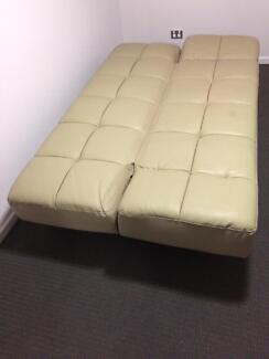 double bed beige leather look futon sofa great condition