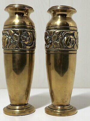 Antique Art Nouveau Pair Of Brass Posy Vases