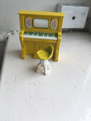 Vintage mattel  littles dolls house furniture metal Piano & Stool 1981