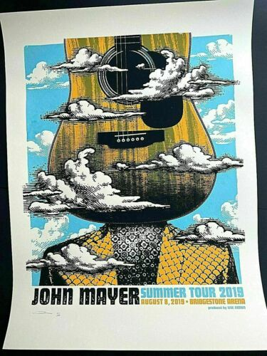 JOHN MAYER AUG 8th 2019 NASHVILLE TN ORIGINAL SIGNED AP SCREEN PRINT POSTER z