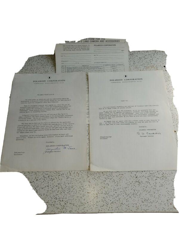 Vintage POLAROID CORPORATION Cmabridge, Mass. Letters & Order Form