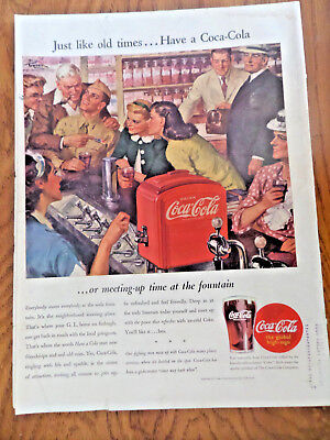 1945 Coke Coca-Cola Soda Pop Ad Meeting-Up time at the Fountain