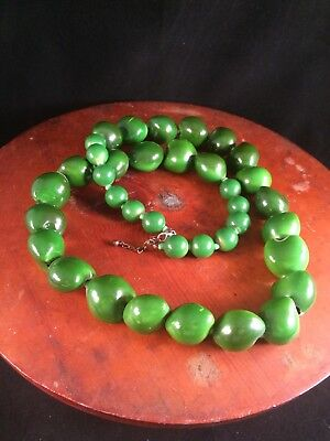 "Hawaiian Green 32"" Kukui Nut Lei Bead Necklace Wedding Marriage Graduation"