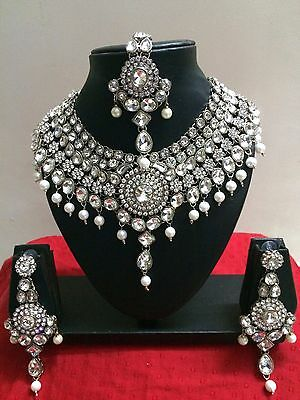 Indian Bollywood Style Diamante Kundan Pearl Rhodium Plated Bridal Jewelry Set