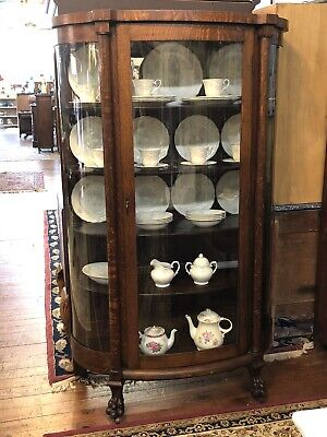 VICTORIAN 1900'S BOW FRONT OAK CURIO / CHINA CABINET GETTYSBURG FURNITURE COM Front Curio Cabinet