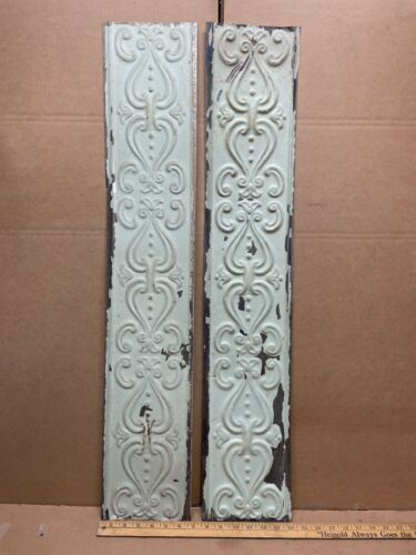 """2 pc 36"""" x 6.5"""" Flat Antique Ceiling Tin Vintage Reclaimed Salvage Art Craft"""