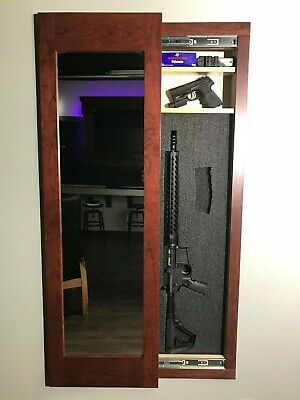 Hidden storage mirror In-wall gun safe concealment cabinet - red mahogany