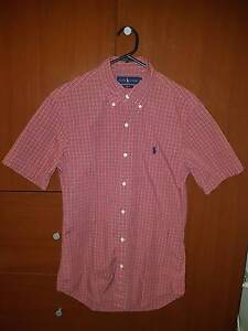POLO RALPH LAUREN Shirt Slim Fit Red Tartan Short Sleeve - Size S Northcote Darebin Area Preview