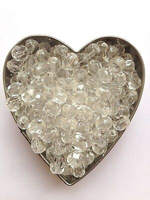 - Jewellery Making Czech 8mm Firepolish Crystal Clear Faceted Round Beads x50