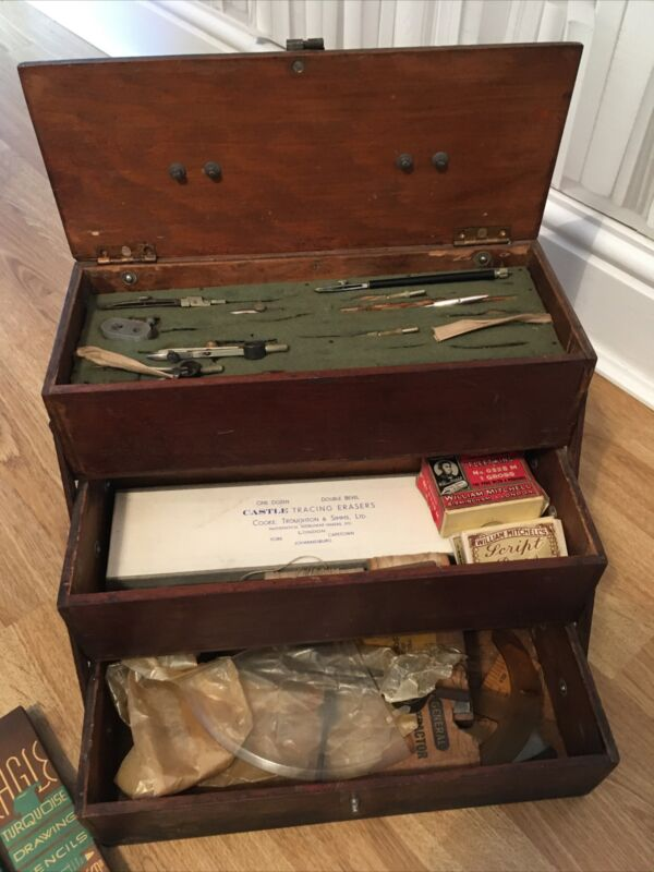 Antique vintage draughtsman tools / Equipment set In Box Carry Case